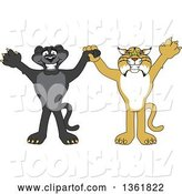 Vector Illustration of Black Panther and Bobcat School Mascots Holding Hands and Cheering, Symbolizing Sportsmanship by Toons4Biz