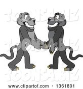 Vector Illustration of Black Panther School Mascots Shaking Hands, Symbolizing Gratitude by Toons4Biz
