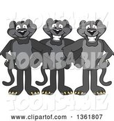 Vector Illustration of Black Panther School Mascots Standing with Linked Arms, Symbolizing Loyalty by Toons4Biz
