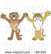 Vector Illustration of Bobcat and Cougar School Mascots Holding Hands and Cheering, Symbolizing Teamwork and Sportsmanship by Toons4Biz