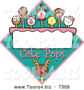 December 12nd, 2013: Vector Illustration of Cake Pops over a Turquoise Diamond by Toons4Biz