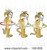 Vector Illustration of Cartoon Bobcat Mascots Holding Hoops and Standing in Line, Symbolizing Respect of Personal Space by Toons4Biz