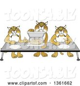 Vector Illustration of Cartoon Bobcat Mascots Offering Pizza, Symbolizing Gratitude by Toons4Biz