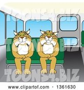 Vector Illustration of Cartoon Bobcat Mascots Sitting on a Bus Seat, Symbolizing Safety by Toons4Biz