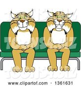 Vector Illustration of Cartoon Bobcat Mascots Sitting on a Seat, Symbolizing Safety by Toons4Biz