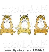 Vector Illustration of Cartoon Bobcat Mascots Sitting on the Floor, Symbolizing Respect by Toons4Biz