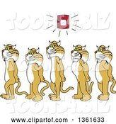 Vector Illustration of Cartoon Bobcat Mascots Walking in Line As a Fire Alarm Goes Off, Symbolizing Safety by Toons4Biz