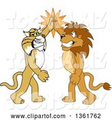 Vector Illustration of Cartoon Lion and Bobcat Mascots High Fiving, Symbolizing Sportsmanship by Toons4Biz
