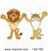 Vector Illustration of Cartoon Lion and Bobcat Mascots Holding Hands and Cheering, Symbolizing Sportsmanship by Toons4Biz