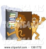 Vector Illustration of Cartoon Lion Mascot Holding a Door Open for a Friend Carrying a Stack of Books, Symbolizing Compassion by Toons4Biz
