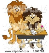 Vector Illustration of Cartoon Lion Mascot Tutoring a Worried Student, Symbolizing Compassion by Toons4Biz