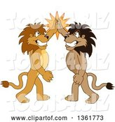 Vector Illustration of Cartoon Lion Mascots High Fiving, Symbolizing Pride by Toons4Biz