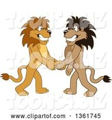 Vector Illustration of Cartoon Lion Mascots Shaking Hands, Symbolizing Gratitude by Toons4Biz