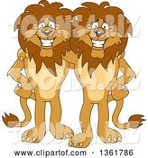 Vector Illustration of Cartoon Lion Mascots Standing and Embracing, Symbolizing Loyalty by Toons4Biz