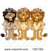 Vector Illustration of Cartoon Lion Mascots Standing with Linked Arms, Symbolizing Loyalty by Toons4Biz