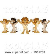 Vector Illustration of Cartoon Team of Lion Mascots Cheering and Holding up Hands, Symbolizing Leadership by Toons4Biz