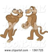 Vector Illustration of Cougar School Mascots Doing a Trust Fall Exercise, Symbolizing Being Dependable by Toons4Biz