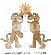 Vector Illustration of Cougar School Mascots High Fiving, Symbolizing Pride by Toons4Biz