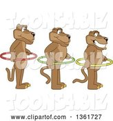 Vector Illustration of Cougar School Mascots Holding Hoops and Standing in Line, Symbolizing Respect by Toons4Biz