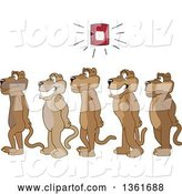 Vector Illustration of Cougar School Mascots in Line During a Fire Drill, Symbolizing Safety by Toons4Biz