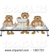 Vector Illustration of Cougar School Mascots Offering Pizza, Symbolizing Gratitude by Toons4Biz