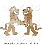 Vector Illustration of Cougar School Mascots Shaking Hands, Symbolizing Gratitude by Toons4Biz