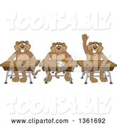 Vector Illustration of Cougar School Mascots Sitting at Desks, One Raising His Hand, Symbolizing Respect by Toons4Biz