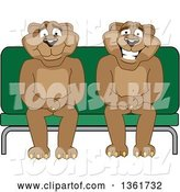 Vector Illustration of Cougar School Mascots Sitting on a Bench, Symbolizing Safety by Toons4Biz