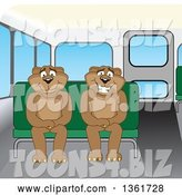 Vector Illustration of Cougar School Mascots Sitting on a Bus Bench, Symbolizing Safety by Toons4Biz