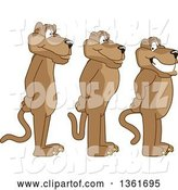 Vector Illustration of Cougar School Mascots Standing in Line, Symbolizing Respect by Toons4Biz