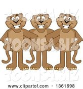 Vector Illustration of Cougar School Mascots Standing with Linked Arms, Symbolizing Loyalty by Toons4Biz