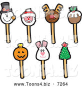 December 2nd, 2013: Vector Illustration of Holiday Themed Cake Pops by Toons4Biz