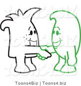 Vector Illustration of Outlined Cartoon Characters Shaking Hands by Toons4Biz
