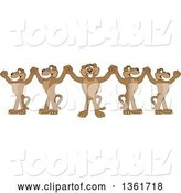 Vector Illustration of Team of Cougar School Mascots Cheering and Holding up Hands, Symbolizing Leadership by Toons4Biz