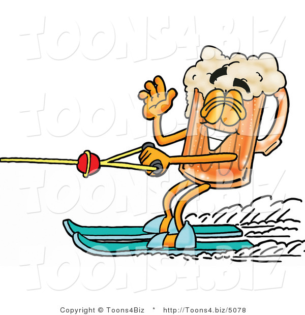 Illustration of a Beer Mug Mascot Waving While Passing by on Water Skis
