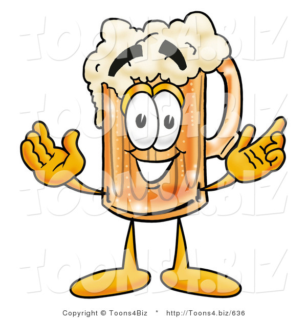 Illustration of a Beer Mug Mascot with Welcoming Open Arms