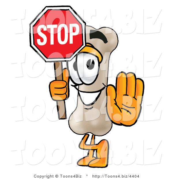 Illustration of a Bone Mascot Holding a Stop Sign