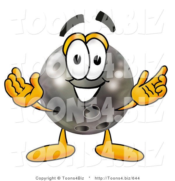 Illustration of a Bowling Ball Mascot with Welcoming Open Arms