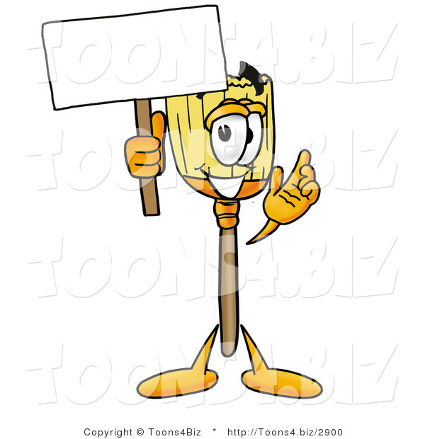 Illustration of a Cartoon Broom Mascot Holding a Blank Sign