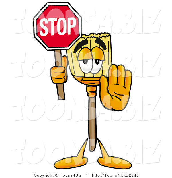 Illustration of a Cartoon Broom Mascot Holding a Stop Sign