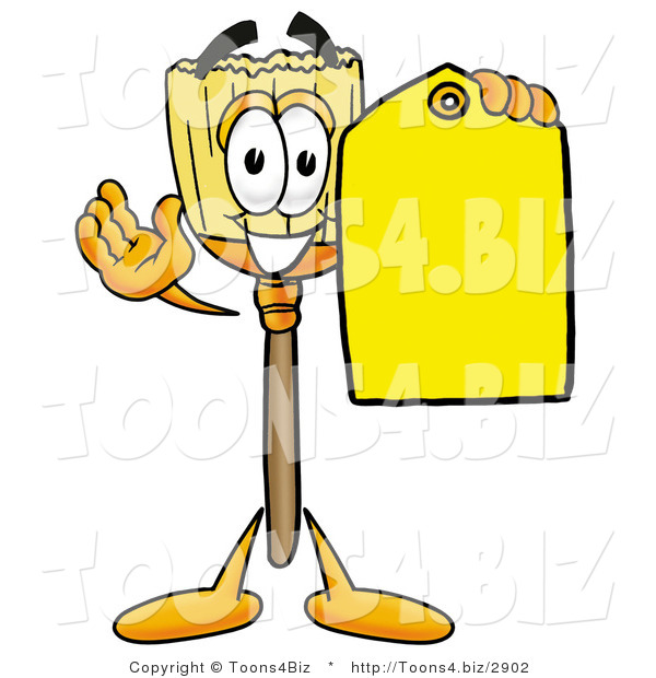 Illustration of a Cartoon Broom Mascot Holding a Yellow Sales Price Tag
