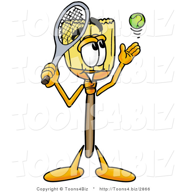 Illustration of a Cartoon Broom Mascot Preparing to Hit a Tennis Ball