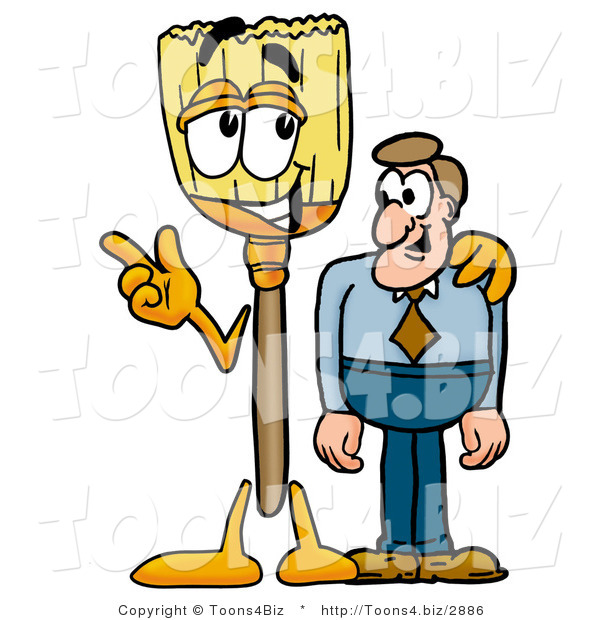 : Illustration of a Cartoon Broom Mascot Talking to a Business Man