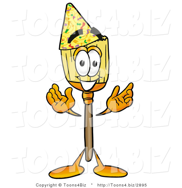 Illustration of a Cartoon Broom Mascot Wearing a Birthday Party Hat