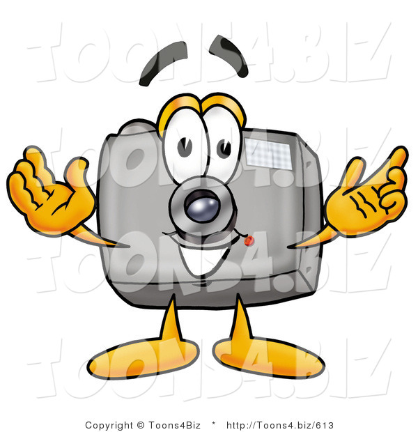 Illustration of a Cartoon Camera Mascot with Welcoming Open Arms