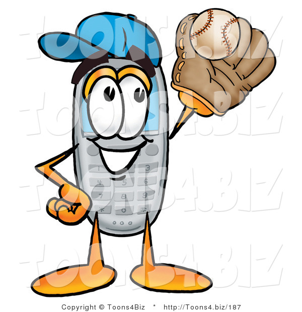 Illustration of a Cartoon Cellphone Mascot Catching a Baseball with a Glove