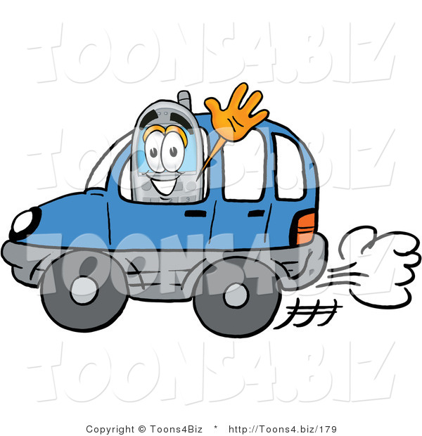 Illustration of a Cartoon Cellphone Mascot Driving a Blue Car and Waving
