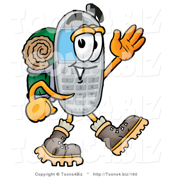 Illustration of a Cartoon Cellphone Mascot Hiking and Carrying a Backpack