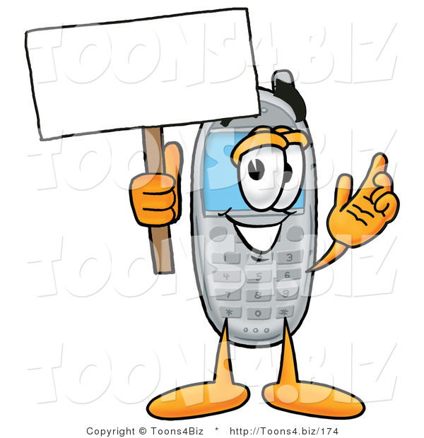 Illustration of a Cartoon Cellphone Mascot Holding a Blank Sign