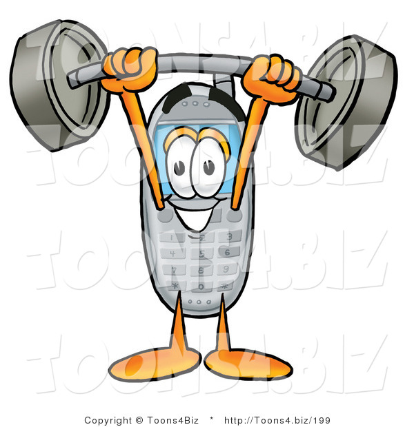 Illustration of a Cartoon Cellphone Mascot Holding a Heavy Barbell Above His Head